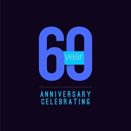 60 Years Anniversary Celebrating Vector Template Design Illustration