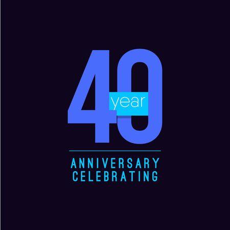 40 Years Anniversary Celebrating Vector Template Design Illustration