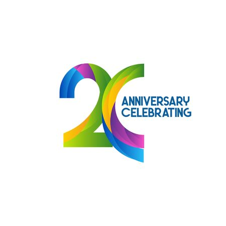 20 Years Anniversary Celebrating Vector Template Design Illustration 일러스트