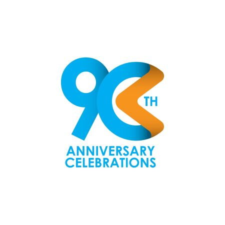 90 Years Anniversary Celebrating Vector Template Design Illustration