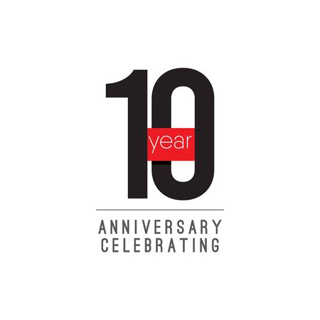 10 Years Anniversary Celebrating Vector Template Design Illustration 스톡 콘텐츠 - 129972154