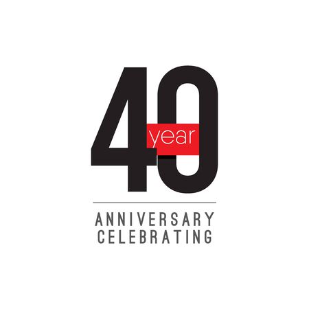 40 Years Anniversary Celebrating Vector Template Design Illustration