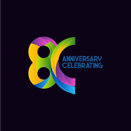 80 Years Anniversary Celebrating Vector Template Design Illustration