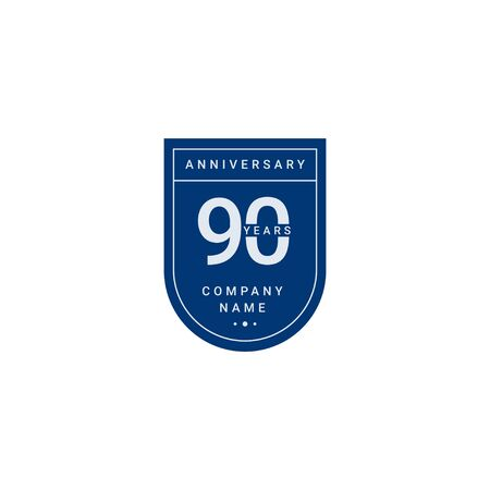 90 Years Anniversary Celebration Your Company Vector Template Design Illustration 스톡 콘텐츠 - 130020311