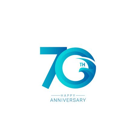 70 Years Anniversary Bird Model Vector Template Design Illustration
