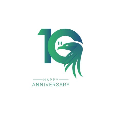 10 th Anniversary Bird Model Vector Template Design Illustration  イラスト・ベクター素材