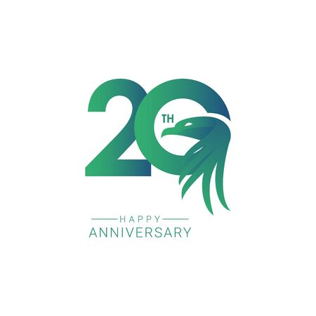 20 th Anniversary Bird Model Vector Template Design Illustration