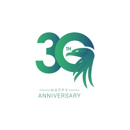 30 th Anniversary Bird Model Vector Template Design Illustration  イラスト・ベクター素材