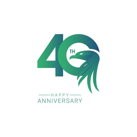 40 th Anniversary Bird Model Vector Template Design Illustration