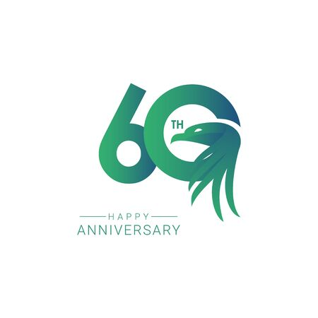 60 th Anniversary Bird Model Vector Template Design Illustration