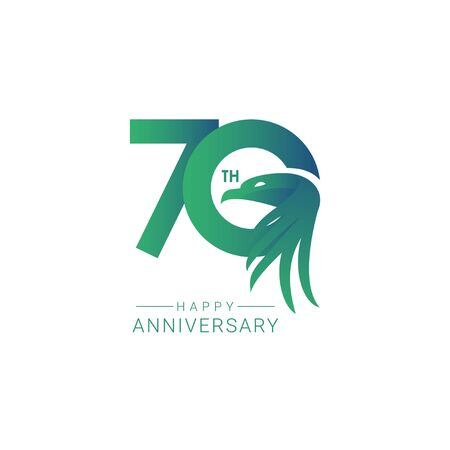 70 th Anniversary Bird Model Vector Template Design Illustration