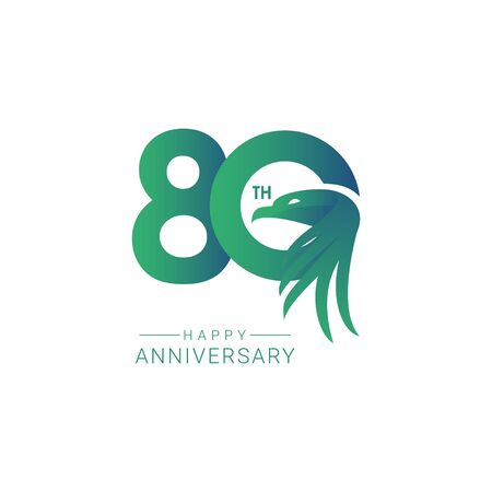 80 th Anniversary Bird Model Vector Template Design Illustration