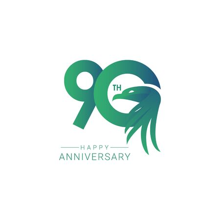90 th Anniversary Bird Model Vector Template Design Illustration