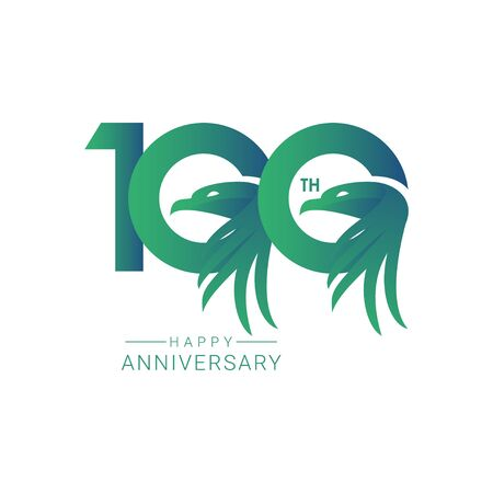 100 th Anniversary Bird Model Vector Template Design Illustration  イラスト・ベクター素材