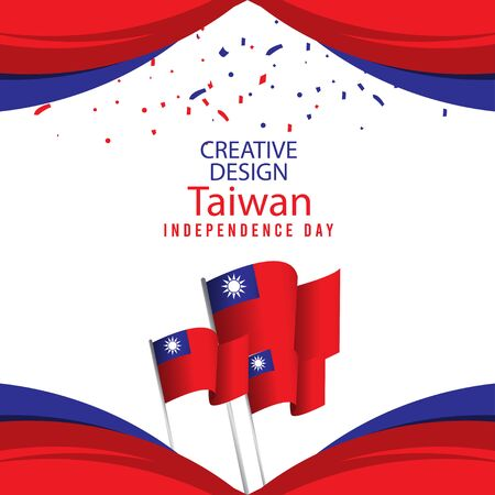 Creative Design Taiwan Independence Day Celebration Vector Template Illustration