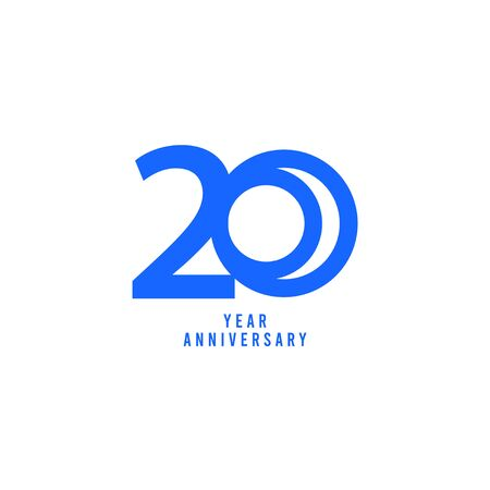 20 Years Anniversary Vector Template Design Illustration  イラスト・ベクター素材