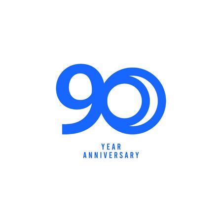 90 Years Anniversary Vector Template Design Illustration