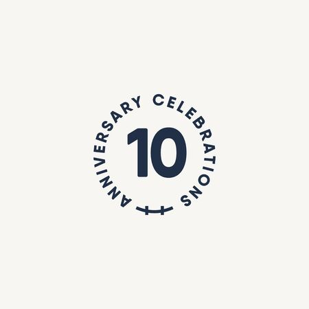 10 Years Anniversary Celebration Vintage Circle Vector Template Design Illustration