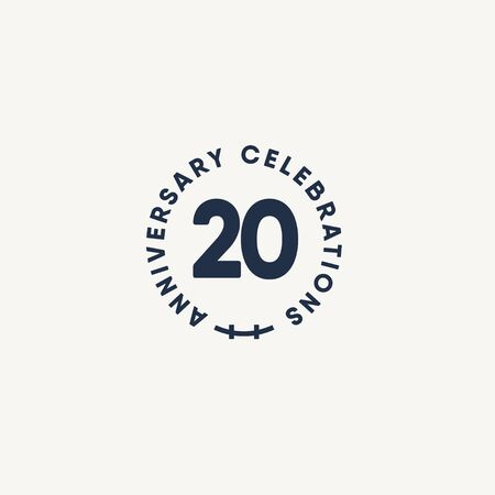 20 Years Anniversary Celebration Vintage Circle Vector Template Design Illustration