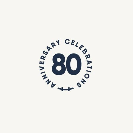 80 Years Anniversary Celebration Vintage Circle Vector Template Design Illustration