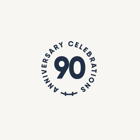 90 Years Anniversary Celebration Vintage Circle Vector Template Design Illustration Stockfoto - 132147775