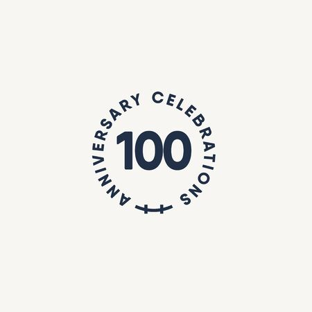 100 Years Anniversary Celebration Vintage Circle Vector Template Design Illustration  イラスト・ベクター素材