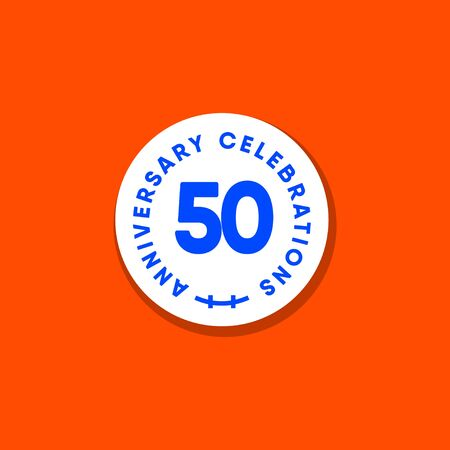 50 Years Anniversary Celebration Vintage Circle Vector Template Design Illustration