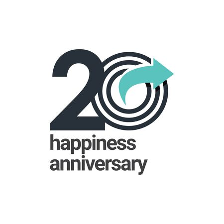 20 Years Happiness Anniversary Vector Template Design Illustration
