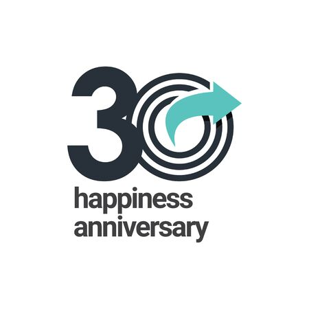 30 Years Happiness Anniversary Vector Template Design Illustration