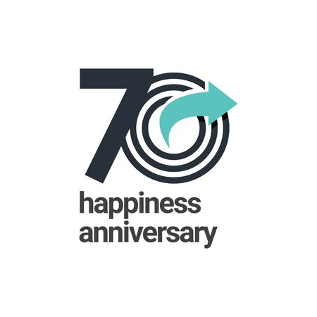 70 Years Happiness Anniversary Vector Template Design Illustration  イラスト・ベクター素材