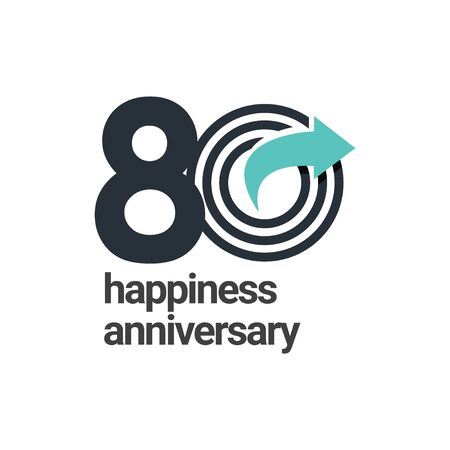80 Years Happiness Anniversary Vector Template Design Illustration