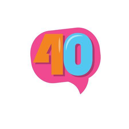 40 Years Kids Anniversary Vector Template Design Illustration Stockfoto - 132147819