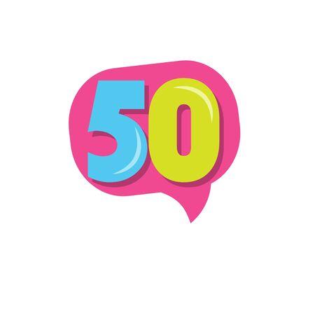 50 Years Kids Anniversary Vector Template Design Illustration