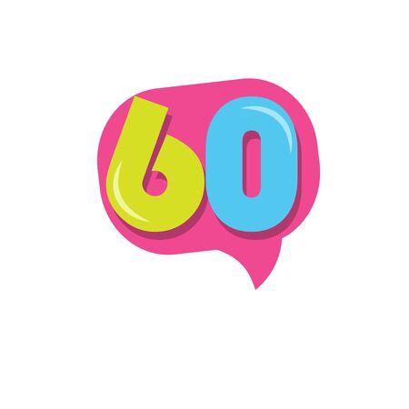 60 Years Kids Anniversary Vector Template Design Illustration Stock Illustratie