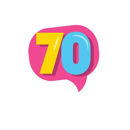 70 Years Kids Anniversary Vector Template Design Illustration Stockfoto - 132147821