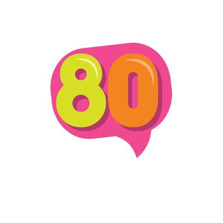 80 Years Kids Anniversary Vector Template Design Illustration