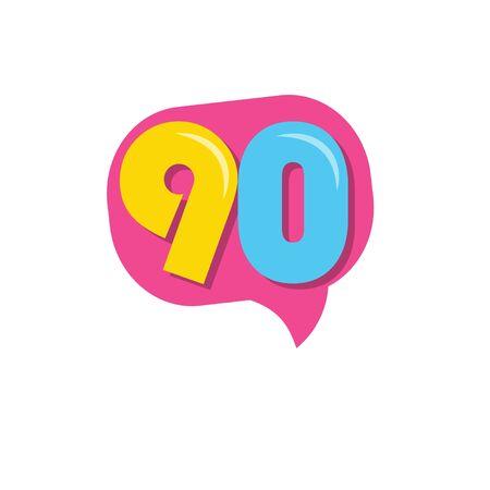 90 Years Kids Anniversary Vector Template Design Illustration Stockfoto - 132147824