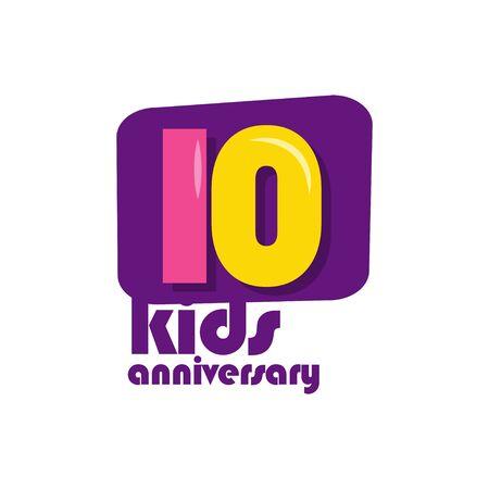 10 Years Kids Anniversary Vector Template Design Illustration Stockfoto - 132147826
