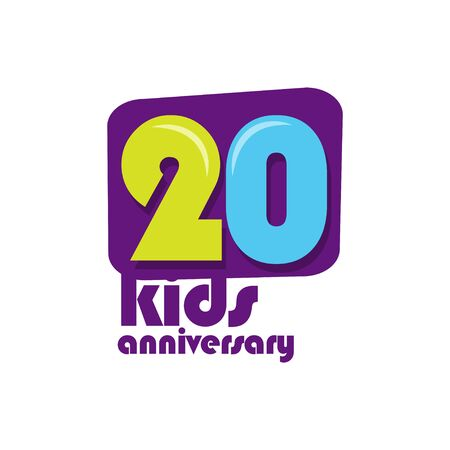 20 Years Kids Anniversary Vector Template Design Illustration