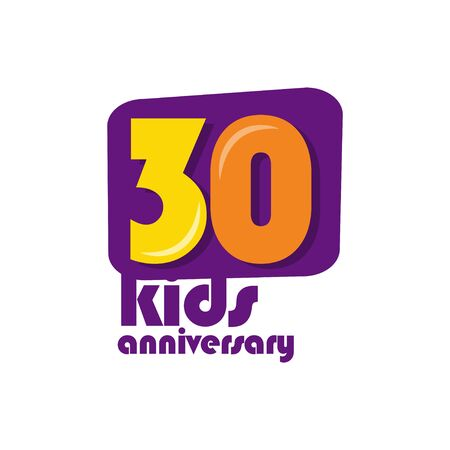 30 Years Kids Anniversary Vector Template Design Illustration Stockfoto - 132147829