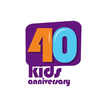 40 Years Kids Anniversary Vector Template Design Illustration Stockfoto - 132147830