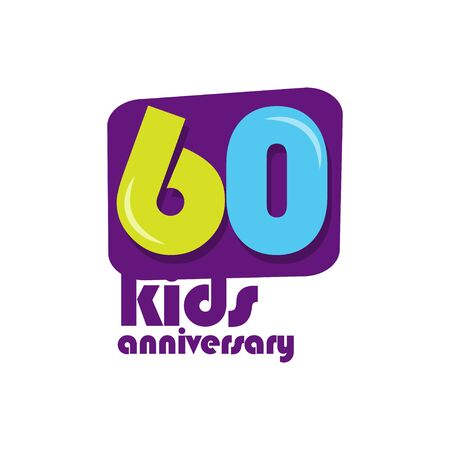 60 Years Kids Anniversary Vector Template Design Illustration Stockfoto - 132147832