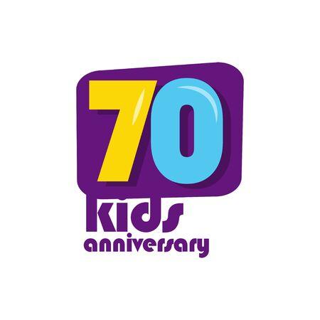 70 Years Kids Anniversary Vector Template Design Illustration Stockfoto - 132147833