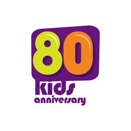 80 Years Kids Anniversary Vector Template Design Illustration Stockfoto - 132147874