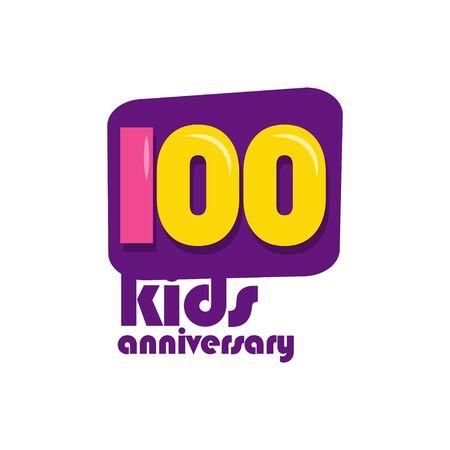 100 Years Kids Anniversary Vector Template Design Illustration Stockfoto - 132147877