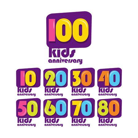 100 Years Kids Anniversary Vector Template Design Illustration
