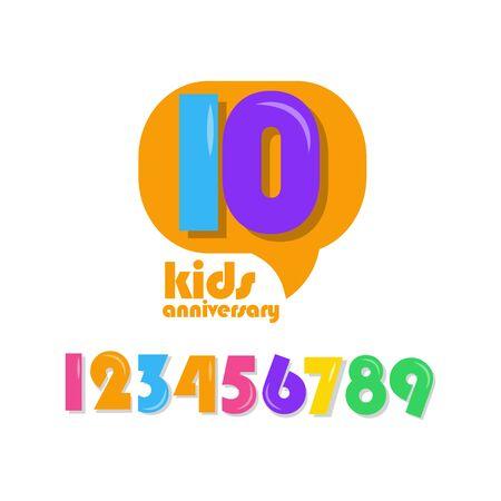 10 Years Kids Anniversary Vector Template Design Illustration Stockfoto - 132147876