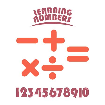 Learning Numbers Set for Kids Vector Template Design Illustration Stockfoto - 132147881