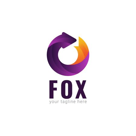 Fox Logo Gradient Vector Template Design Illustration Stockfoto - 132147884