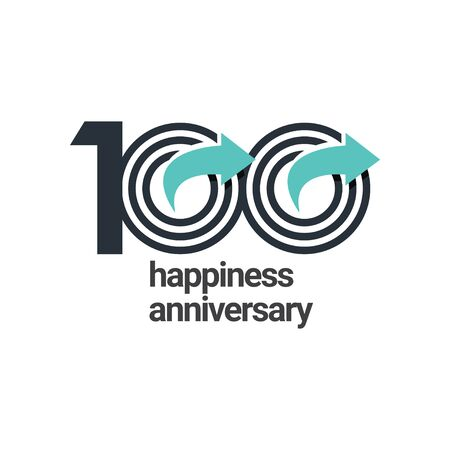 100 Years Happiness Anniversary Vector Template Design Illustration